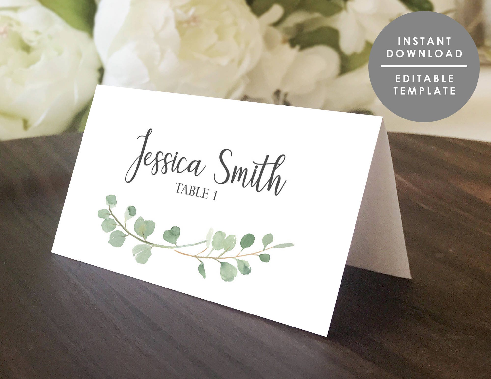 Greenery Place Card Template Printable Guest Name Card - Folded place cards template
