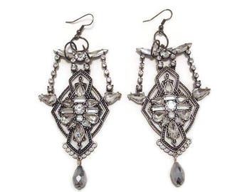 Silver Statement Earrings - Silver Dangle Earrings - Silver Crystal Earrings - Long Silver Earrings - Long Statement Earrings