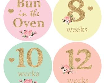 16 Baby Bump Stickers, Pregnancy stickers, Maternity Sticker, Weekly Belly Sticker, Glitter baby bump stickers, Belly Bump Sticker B137