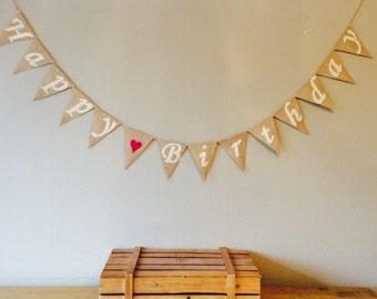 Happy Birthday Bunting Banner. Vintage Hessian Burlap