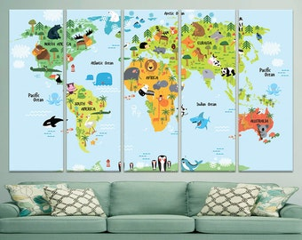Kids world map wall etsy kids world map nursery room decor childrens wall art canvas world map print large canvas print baby world map giclee print canvas gift idea gumiabroncs Images
