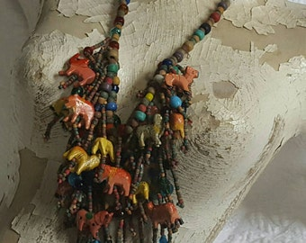 Vintage Hand Crafted Animal Beaded Necklace Folk Art