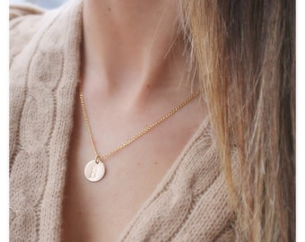 gold initial necklace • gold circle necklace • initial gold necklace •  personalized necklace • gold, silver initial • B082