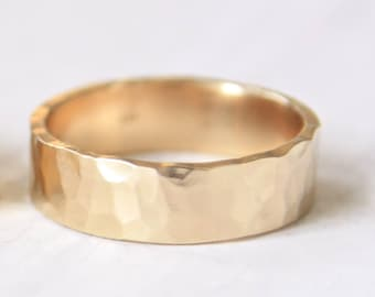 Hammered Gold Ring , Solid 14k Yellow Gold Wedding Ring, 6mm Rectangular Band, Shiny or Matte Finish,Eco Friendly, mens wedding ring, womens