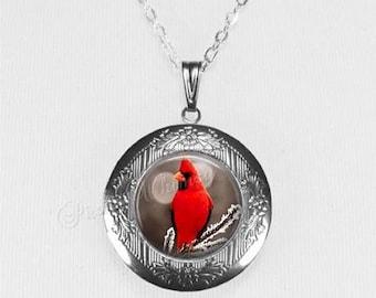 CARDINAL Bird Art Glass Locket Necklace,  Gift For Cardinal Lover, Memorial Locket, Loss Of Loved One