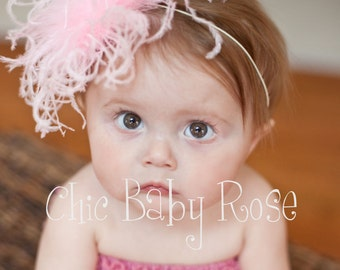 Curly Ostrich Feather Poof Clip or Band Available in 16 Colors by Chic Baby Rose