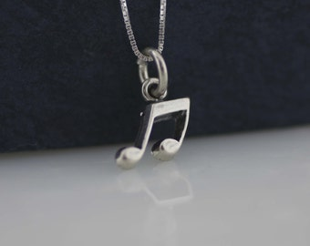 Sterling Silver Musical Necklace, Silver Musical Note Charm, Music Lover Necklace, Tiny Musical Note Necklace, Musical Jewelry