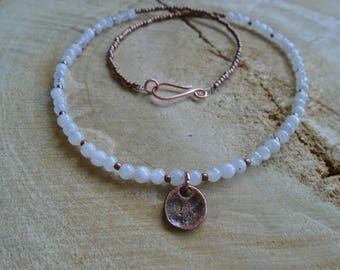 Moonstone and copper necklace / nature jewelry / minimalist
