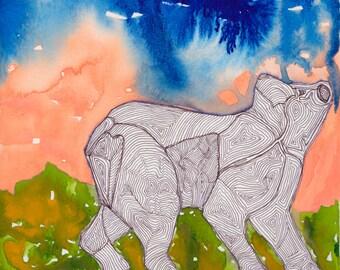 Northern Bear - framed ink jet print, gallery frame, original art, print, Dawn Patel Art, small works, art gifts, painting, nature, animals