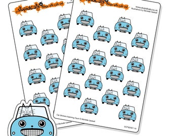 Road Trip Planner Stickers Blue - cat in a car stickers for your journal, diary or calendar - 32 kiss-cut car stickers
