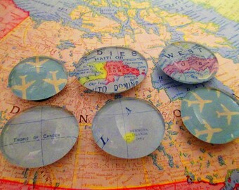 Glass Magnets, Destination Magnets, Magnet Set, Travel Magnets, Cute Gift, Party Favor, Map Magnets