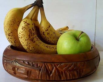 Carved fruit bowl wood rustic home decor wood bowl fruit plate boho decor