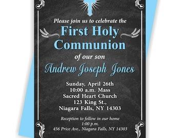 First Holy Communion, Invitation, Boy 1st Communion, Communion Invite, Boy, 1st Communion Invite -FIRSTCOMB5