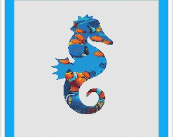 Sea Horse Cross Stitch Pattern PDF, beach cross stitch, sea ocean animals, #022