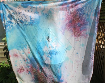 Scarf Watercolour Fox. Handmade. Hand Drawn. Modern.
