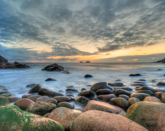 Photographic Print of sunset over Porth Nanven with the Brisons , Cot Valley, Penwith, Cornwall,    Perfect gift.