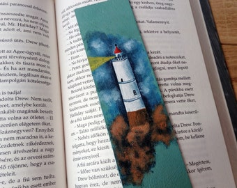 Lighthouse leather bookmark / Fantasy readers gift / Stephen King / Storm of the Century inspired / Ocean / Nautical gift / Bookworm