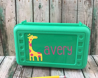 Giraffe Pencil Box - Personalized Pencil Box - School Supply Box - Pencil Case - Crayon Box - Art Supply Box - Kids Pencil Box - School Box