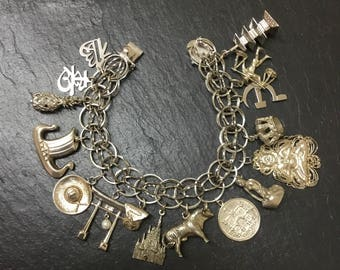 Extremely rare silver charm bracelet, Asian charm bracelet,Scandinavia charm bracelet,Asian charms,Japanese charm,Norwegian charm