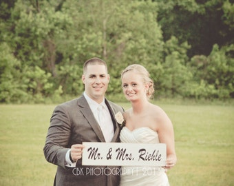 Mr. and Mrs. Wedding Sign - Personalized Name