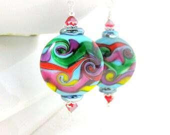 Rainbow Swirl Earrings, Colorful Glass Earrings, Lampwork Earrings, Happy Earrings, Wave Earrings, Funky Dangle Earrings, Rainbow Jewelry