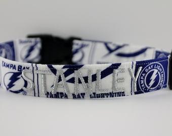 NHL Tampa Bay Lightning Collar, Lightning Dog Collar, Personalized Collar, Embroidered Dog Collar, Dog Collar, Tampa Bay Collar, Hockey Dog