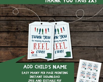 Fishing thank you tags | Favor tags | Fishing birthday thank you tags | birthday thank you tags | Instant download printable files 1st, 2nd