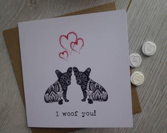 French Bulldog Card, Valentine Card, Dog Valentine Card, French Bulldog Valentine Card, Valentine Gift, French Bulldog Gift, Frenchie, Dogs