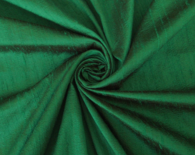 "Emerald Green 100% dupioni silk fabric yardage By the Yard 45"" wide"