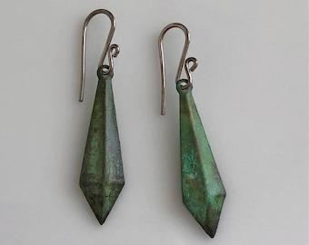 Small Green Patina Earrings   Hypoallergenic Niobium Earrings   Boho Earrings