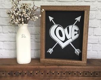 Panneau de bois peintes en amour