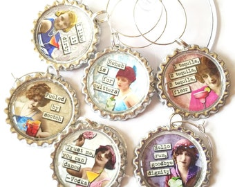 Funny Wine Glass Charms Sassy Divas Retro Beauty Wine Tags Vintage Bachelorette Party Girls Night Out Humorous Cute Wine Theme Gift