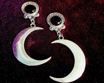 Moon Earstuds or Plugs - plugs Moon Wicca Witch Gothic Occult Moongoddess