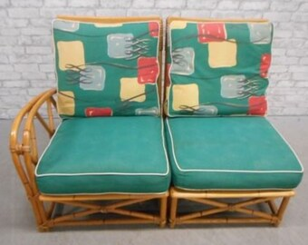 Heywood Wakefield Rattan Bamboo 2 pc chair Settee Original