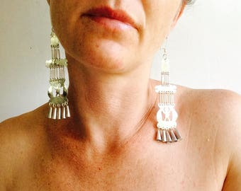 Long Mapuche Earrings. Chile. Fine Silver .950