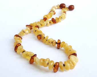 Genuine amber teething necklace honey cognac amber necklace for babies polished baltic amber teething jewelry amber baby gif