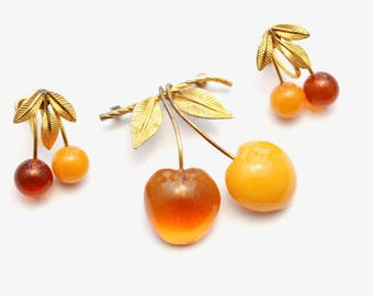 Vintage 12K Gold Filled Cherries Brooch & Earrings Set - Butterscotch and Amber - Fruit Jewelry