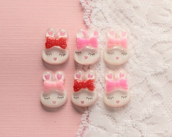 6 Pcs Assorted Glittery White Sleeping Bunny Cabochons - 18x13mm