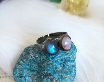 Moonstone Ring Labradorite Ring, inspirational ring, big statement ring, Personalised, Gift for Her, Boho Rings