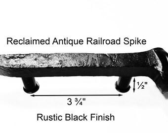 "3 3/4"" Right Black Railroad Spike Cupboard Handle Dresser Drawer Pull Cabinet Knob Antique Vintage Old Rustic Re-purposed House Restoration"