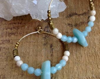 Gold Boho Hoop Earrings/ Aqua White Hippie Earrings/ Casual Jewelry