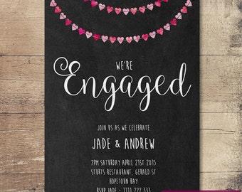 Printable Heart Bunting Chalkboard Engagement Invitation / Customisable Digital File / JPG or PDF / Pink