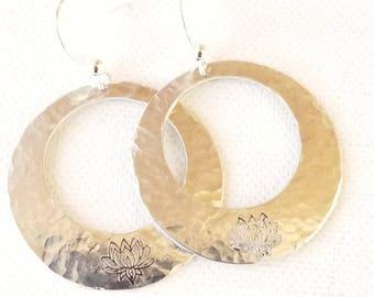 Hammered Earrings Hammered Lotus earrings Washer Earrings