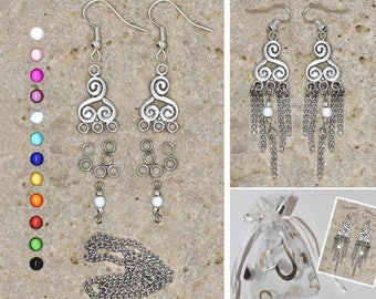 Kit earrings connector scrollwork and chains