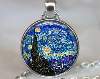 Starry Night pendant, Van Gogh necklace, Van Gogh art jewelry, moon and stars necklace, Starry Night necklace keychain key chain