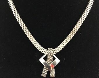 Vintage Silver Modernist Necklace Mesh Faux Lariat Necklace Unique Vintage Mid Century Jewelry