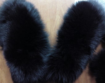 New!Natural,Real Black Fox FUR GLOVES!!!