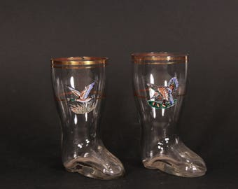 1970s glass boots, Decorative glasses, Vintage glass boot, Glasses with gold rim, Set of two glasses, Christmas decorative, Shot glasses