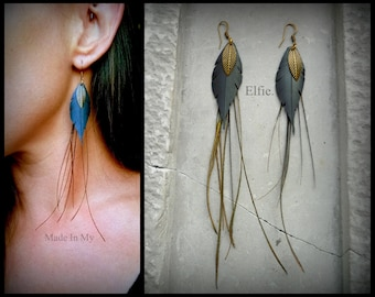Earrings feather Elfie in inner tube and Peacock feather