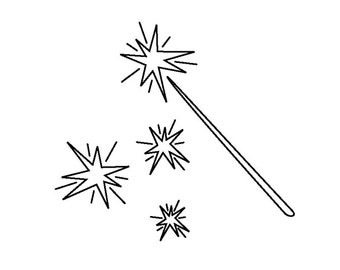Twinkles and Wand - cling rubber stamp